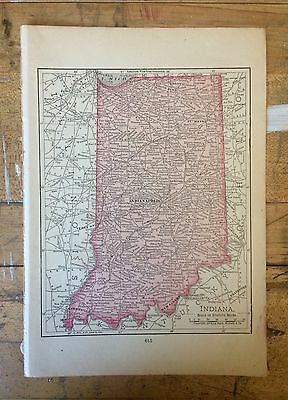 Antique Map of Indiana 1904 by Rand, McNally & Co.