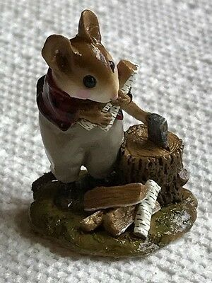 Wee Forest Folk Mouse Splitting Wood