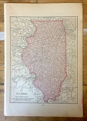 Antique Map of Illinois 1899 by Rand, McNally & Co.