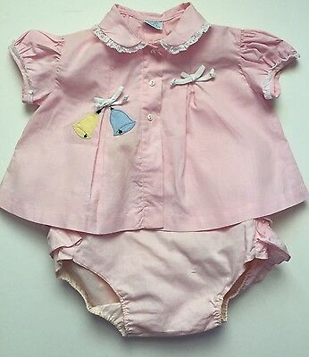 Vintage Baby Girl Dress. Pink Cotton With Appliquéd Balloons. Plastic Lined Pant