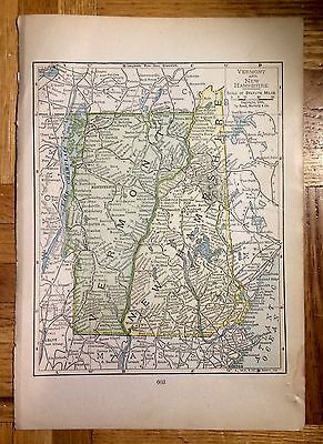 Antique Map of Vermont and New Hampshire 1899 by Rand, McNally & Co.