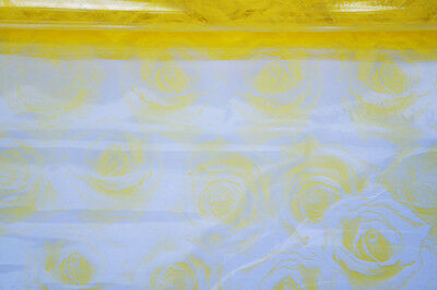 Florist Cellophane Sheets Gift Flower Wrap Clear With Yellow Floral Patterns