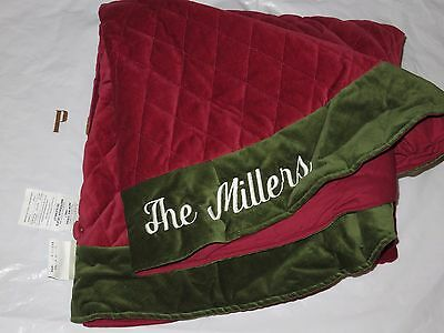 """Pottery Barn VELVET TREE SKIRT, RED WITH GREEN CUFF, LARGE, """"THE MILLERS"""", NEW"""