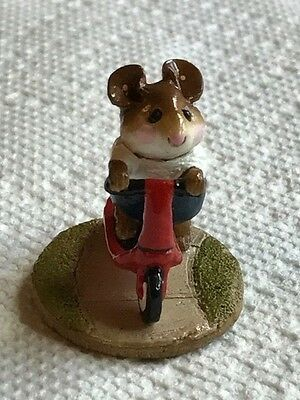 Wee Forest Folk Scooter Mouse, red scooter