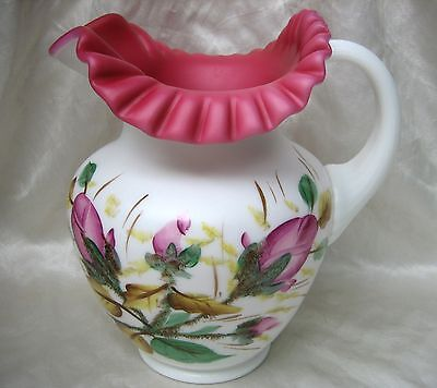 Fenton L.G. Wright Peach Blow Cased Satin Glass Moss Rose Large Pitcher Jug