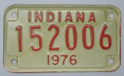 Vintage 1976 Indiana 6 number 152006 Motorcycle License Plate