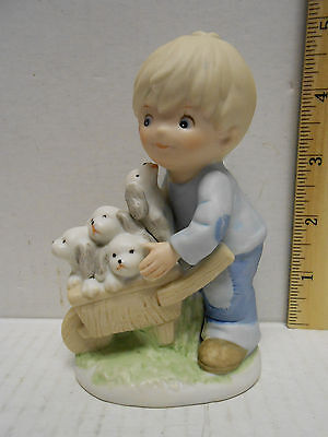 Vintage Homco Figurine, Young Boy Holding a Cart Full with Puppies ~ #1402