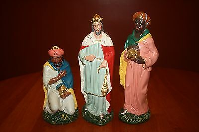 Vintage Large 11 Inch Paper Mache Nativity Three Wise Men Magi Made in Italy