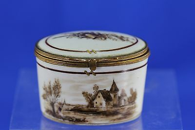 Antique Porcelain Brown Transferware Country Scene Snuff Trinket Box