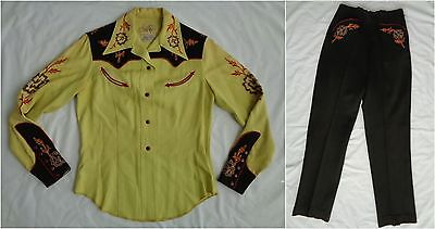 Vintage Vaquero Fashions Western Gabardine Top Blouse Pants Outfit Embroidered