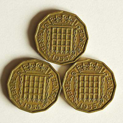 Three Elizabeth II brass THREE-PENCE coins dated 1953 to 1955