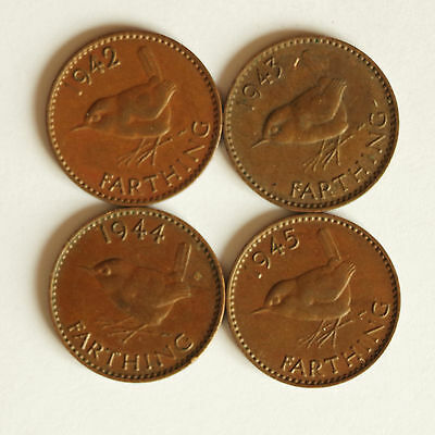 Four George VI farthings dated 1942 to 1945