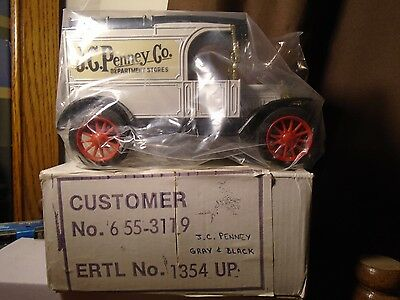JC Penney Dept Stores1913 Ford Model T Delivery  ERTL Truck Bank Gray & Black