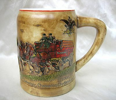 Budweiser 1980 Holiday Stein CS19 with Champion Clydesdales