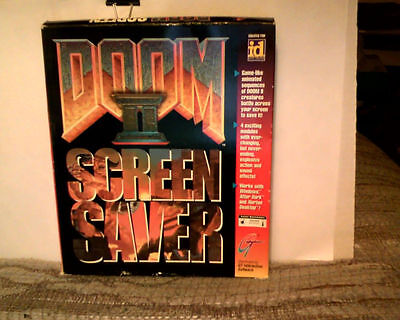 """Doom II Screen Saver ! Box +(4) 3 1/2"""" floppies and instruction manual!! Sealed"""