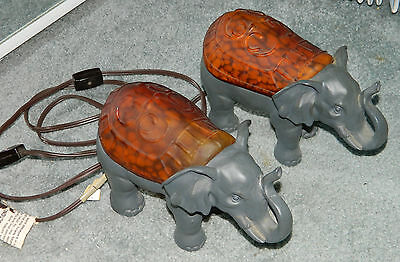 PAIR OF RARE Matching AMBER ART GLASS ELEPHANT ACCENT LAMPS/ NIGHT LIGHTS