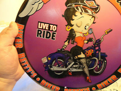 Betty Boop Parts and service live to ride Bikers Metal Round Sign 2004