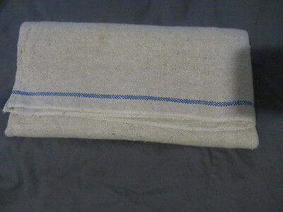 Old Early Primitive Homespun Linen Toweling With Blue Stripes....good Cond.
