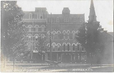 RPPC Post Office & Eldredge Art Store - Norwich New York - Real Photo Postcard