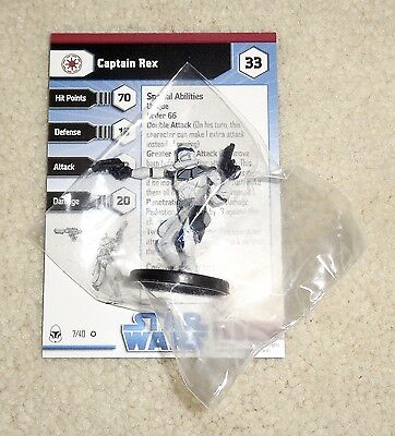 Star Wars Miniatures CAPTAIN REX #7/40 VERY RARE w/ Card - Clone Wars NEW SEALED