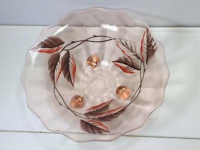 Pink depression glass footed fruit bowl cold painted ? English ?