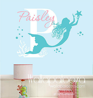 Mermaid Wall Decal - Nursery Wall Decor - Girl's Room Wall Art - Wall Stickers