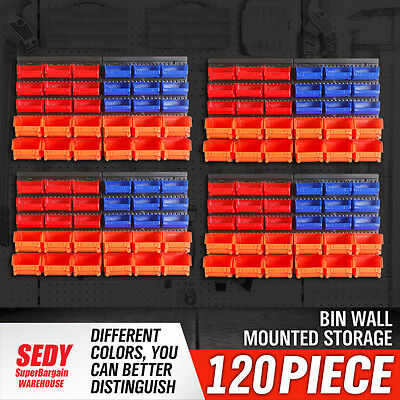 120pc Bins Wall Mounted Storage Solution Rack Nuts & Bolts Organizer Small Parts