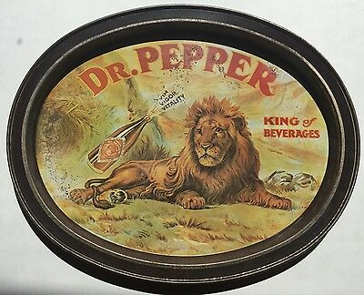 Dr. Pepper Tray 1979 Metal Tin Lion King of Beverages Americana Texas collector