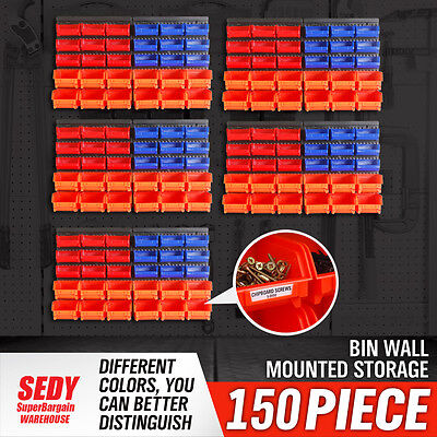 150-Bin Wall-Mounted Storage Solution Bins Rack Nuts Bolts Parts Organiser