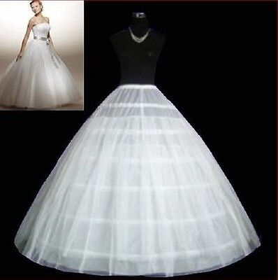 White 6-HOOP PETTICOAT crinoline SLIP Underskirt BRIDAL WEDDING dress