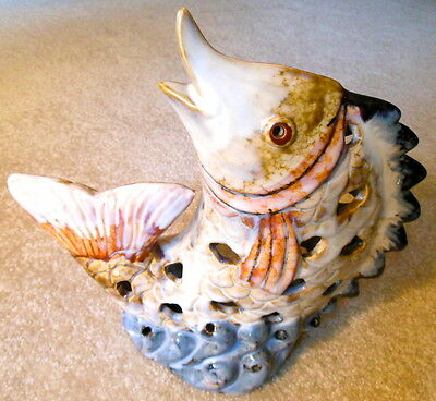Vintage Glazed Ceramic Art Pottery Large FISH Figurine / Candle Holder