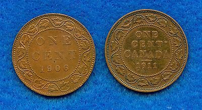 1906 & 1911 Canada Large Cent One Cent Coins