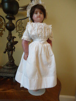 Lovely Antique English Poured Wax Girl