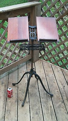 Antique 1895 Ornate Cast Iron Victorian Adjustable Music Book Stand - Steampunk