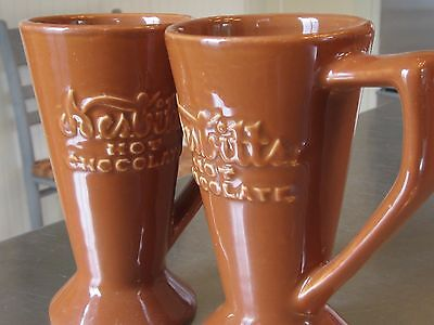 """Two Nesbitts Hot Chocolate Mug Cup 1940s Coors China Chefsware 5.25"""" tall"""