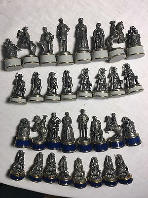 Full Set (36) Franklin Mint Pewter Civil War Chess Pieces Dated '83; No Board