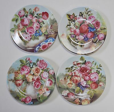 Beautiful Limoges French Home Floral Rose Plates Set of 4