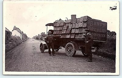 Postcard 1920s Banff Brewery Co Distillery Delivery Truck Scotland RPPC Photo C4