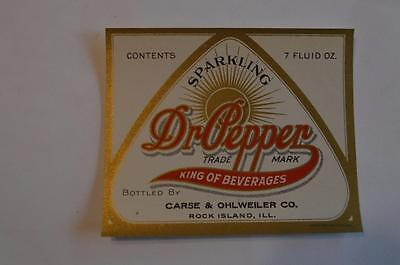 Sparkling Dr Pepper by Chase & Ohlweiler co. Rock Island ILL Label