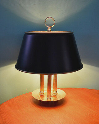 Vintage Black and Gold 3 Candle Bouillotte Style Tole Lamp w/Metal Shade