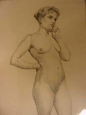 Original 1930s Pencil Drawing Nude Woman by Cecil Fogarty