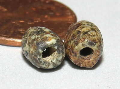 2 Ancient Beads Neolithic Granite  NICE