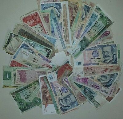 Foreign /  World Paper Money 100  Note Lot Currency Collection