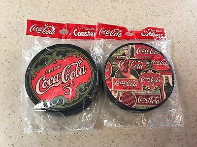 Two Sets of Four 4'' Coca Cola Vintage Deco Plastic Coasters
