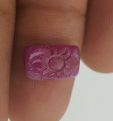 Natural Hand Carved Ruby Flower 7.30*11.80 Mm 5 Cts