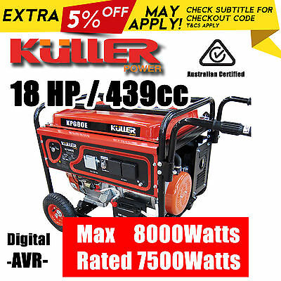 New 18HP Rated 7500W Max 8000W 4 Stroke Generator Single Phase Portable Petrol