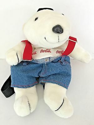 "1997 Coca-Cola Company 16"" Polar Bear Plush Knapsack /Backpack Brand New Vintage"