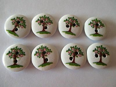 8 x 16mm Pink Apple Tree Design Wooden Buttons - 2 Holes - No.1002