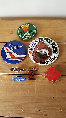 7 x Vintage Obsolete Wardair Airlines Lapel Pins and Badges inc Junior Wings Pin