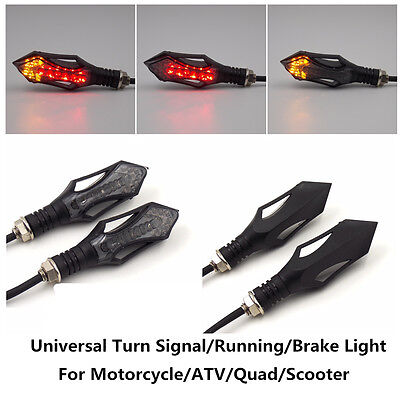 LED Motorcycle Turn Signal Tail Running Light Brake Indicator Red Amber Lamp 4pc